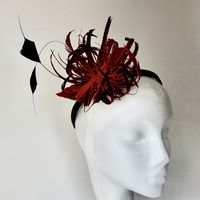 Red and Black Fascinator on Headband SN498